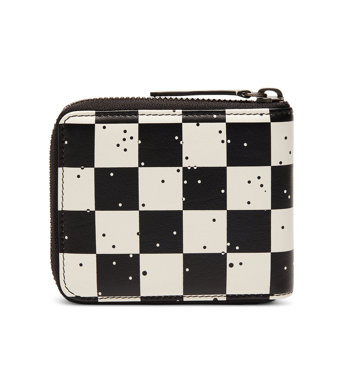 SPACE CHECK LEATHER ZIP WALLET - WHITE