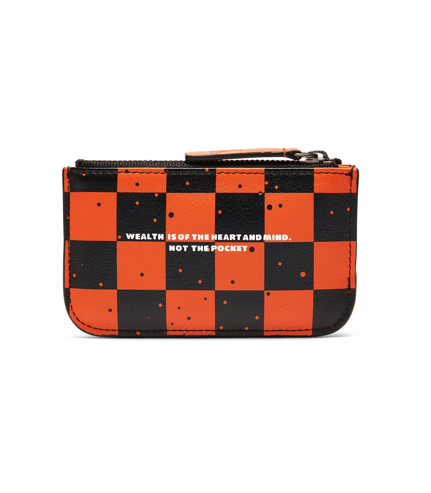 SPACE CHECK LEATHER ZIP KEY POUCH - ORANGE