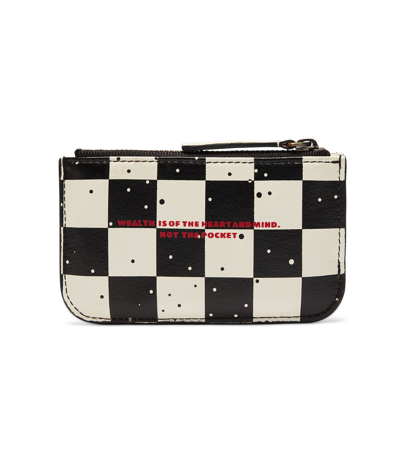 SPACE CHECK LEATHER ZIP KEY POUCH - WHITE