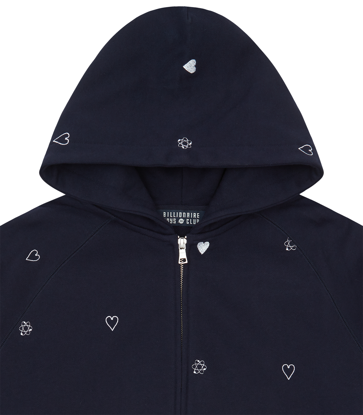 HEART & MIND MONOGRAM EMBROIDERED ZIP THROUGH HOOD - NAVY