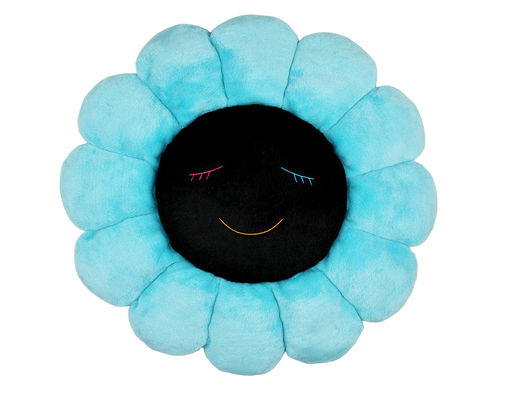 MURAKAMI FLOWER CUSHION 60CM - BLUE & BLACK