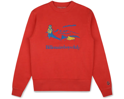 Billionaire Boys Club Fall '19 CAMPSITE PIGMENT DYED CREWNECK - RED