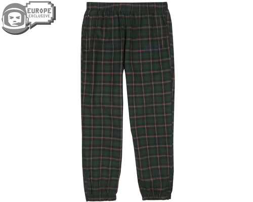 CHECK TRACK PANTS - GREEN