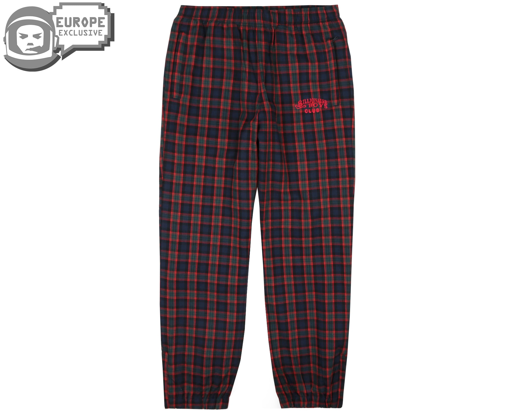 CHECK TRACK PANTS - RED