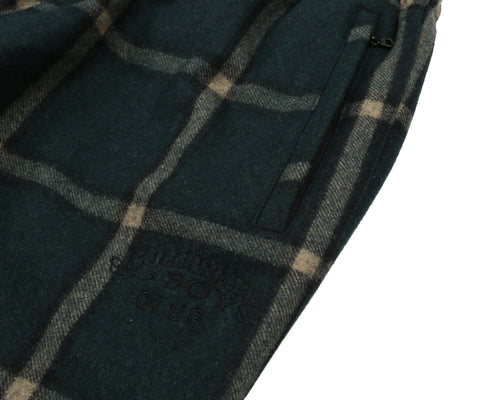 WOOL CHECK TRACK PANT - GREEN
