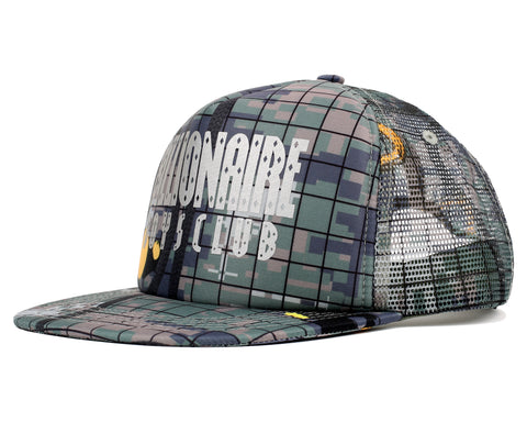 Billionaire Boys Club Fall '18 CLIMBING CAMO STRAIGHT LOGO TRUCKER CAP - CAMO