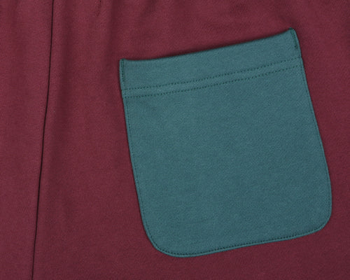 ROBOTIC LOGO SWEATSHORT - BURGUNDY