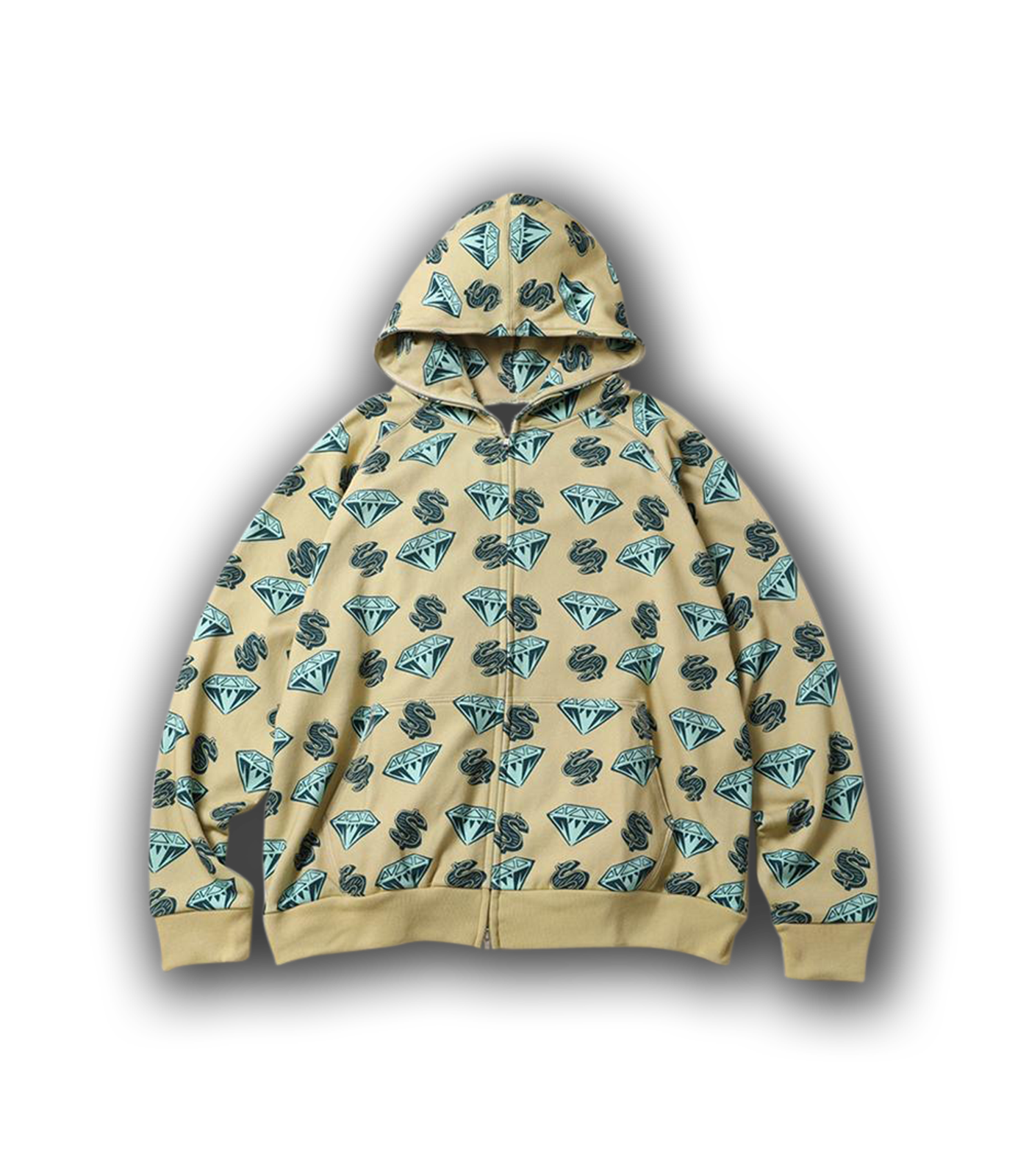 DIAMONDS & DOLLARS FULL ZIP HOOD - BEIGE