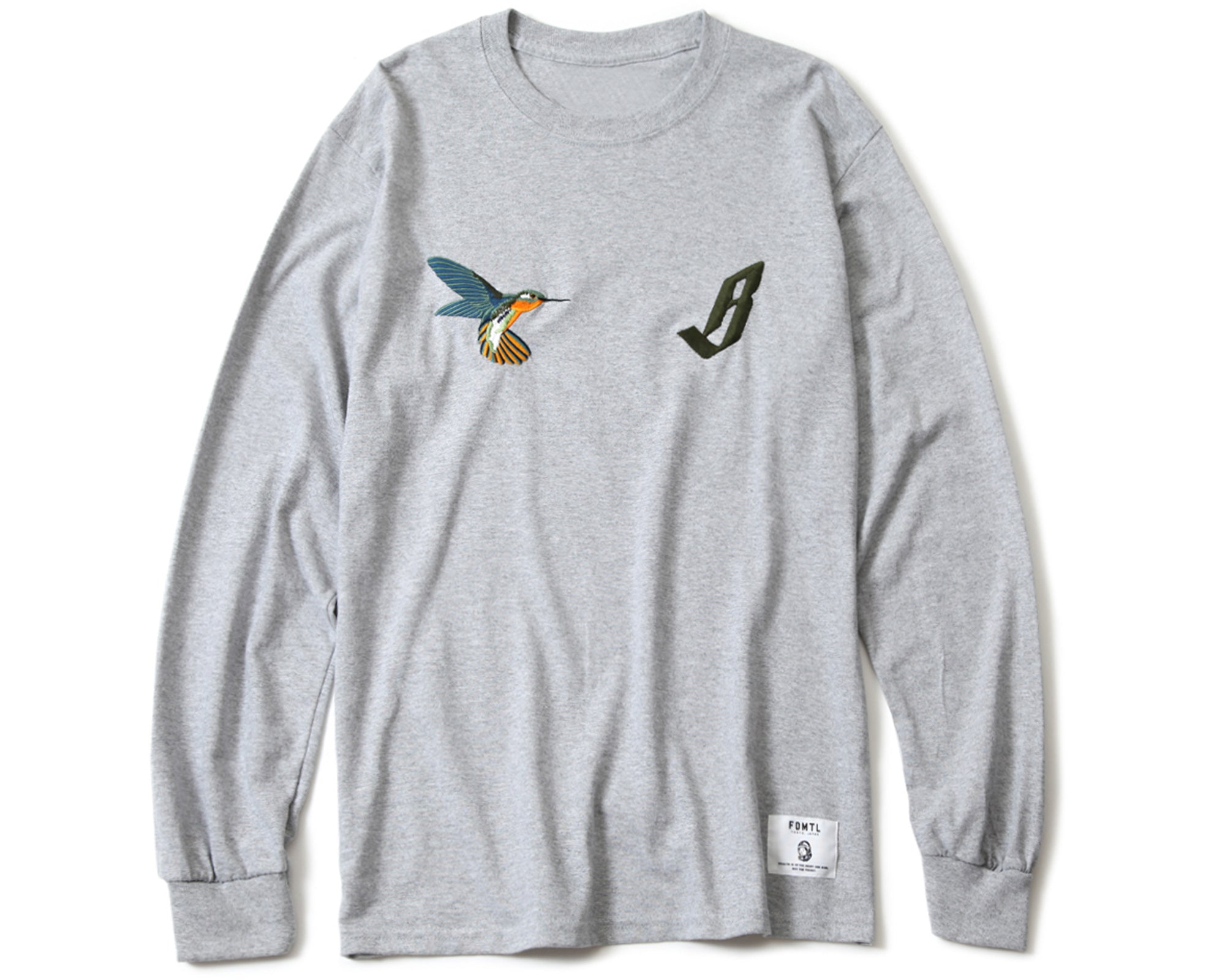 EMBROIDERED L/S T-SHIRT - GREY