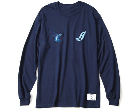 BBC X FDMTL EMBROIDERED L/S T-SHIRT - NAVY