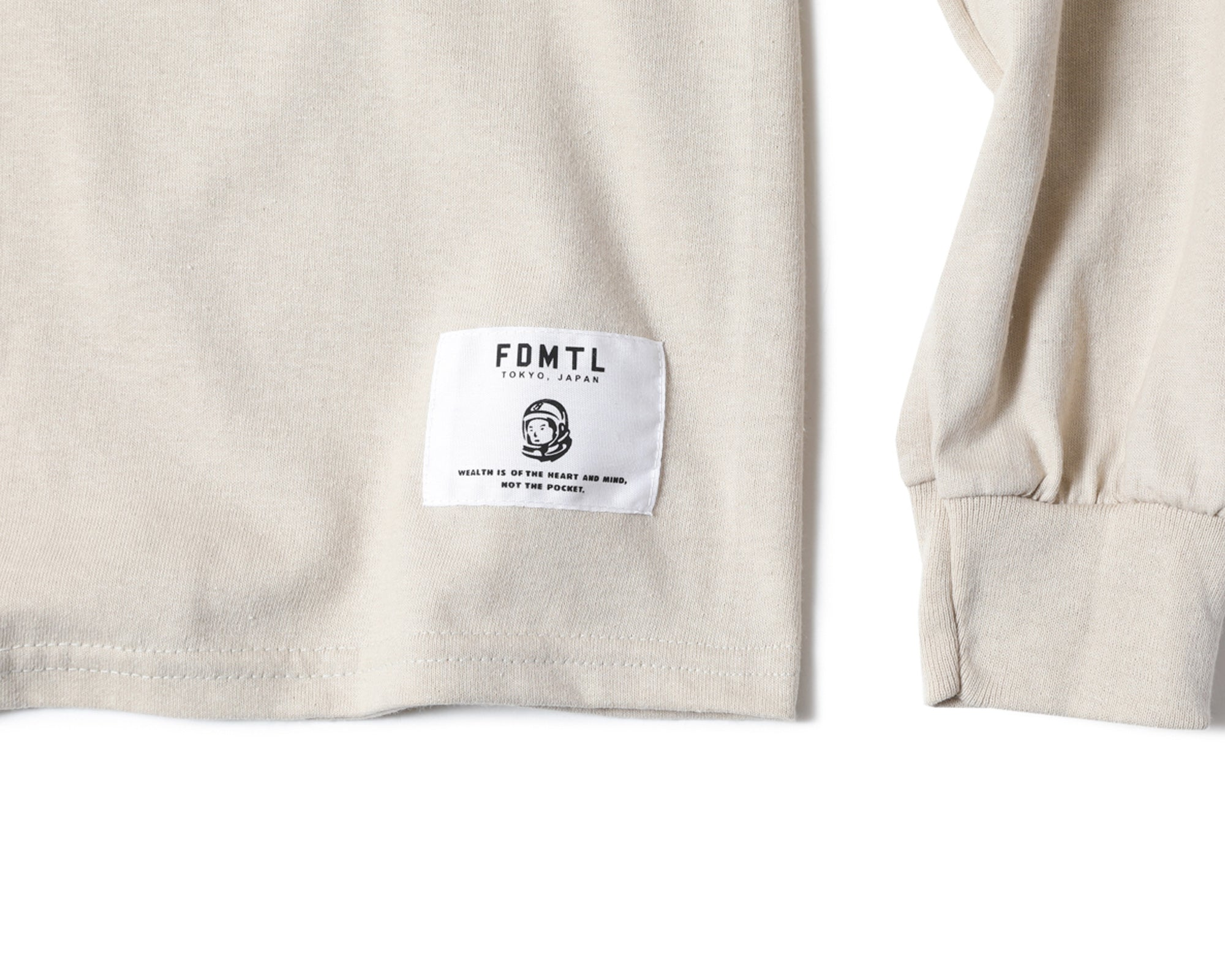 EMBROIDERED L/S T-SHIRT - SAND