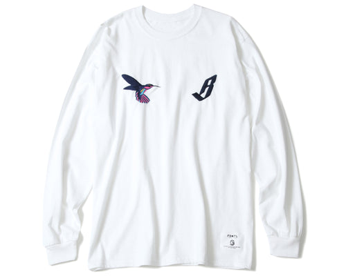 EMBROIDERED L/S T-SHIRT - WHITE