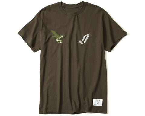 BBC X FDMTL EMBROIDERED T-SHIRT - OLIVE