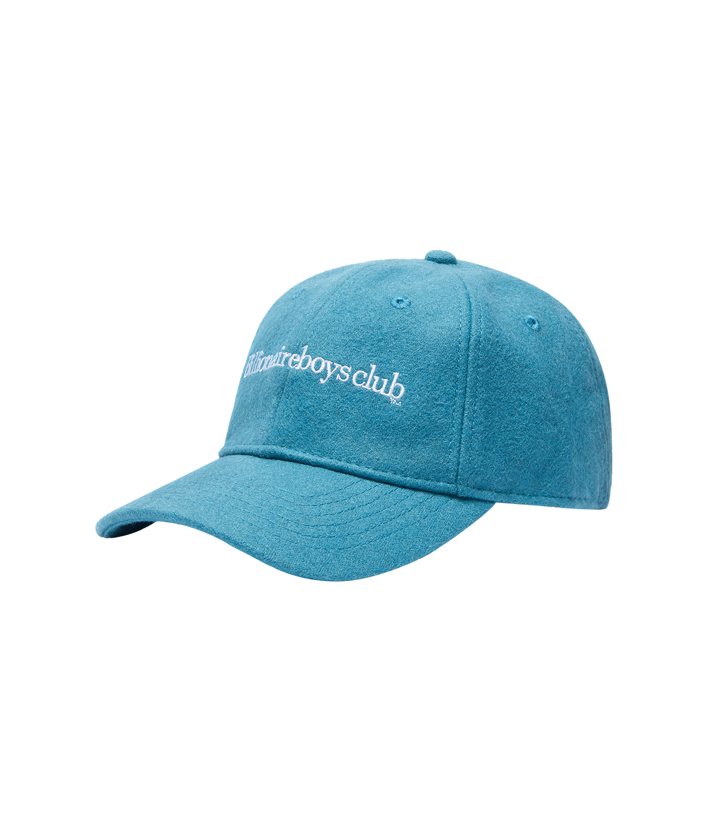 EMBROIDERED WOOL CURVED VISOR CAP - AQUA