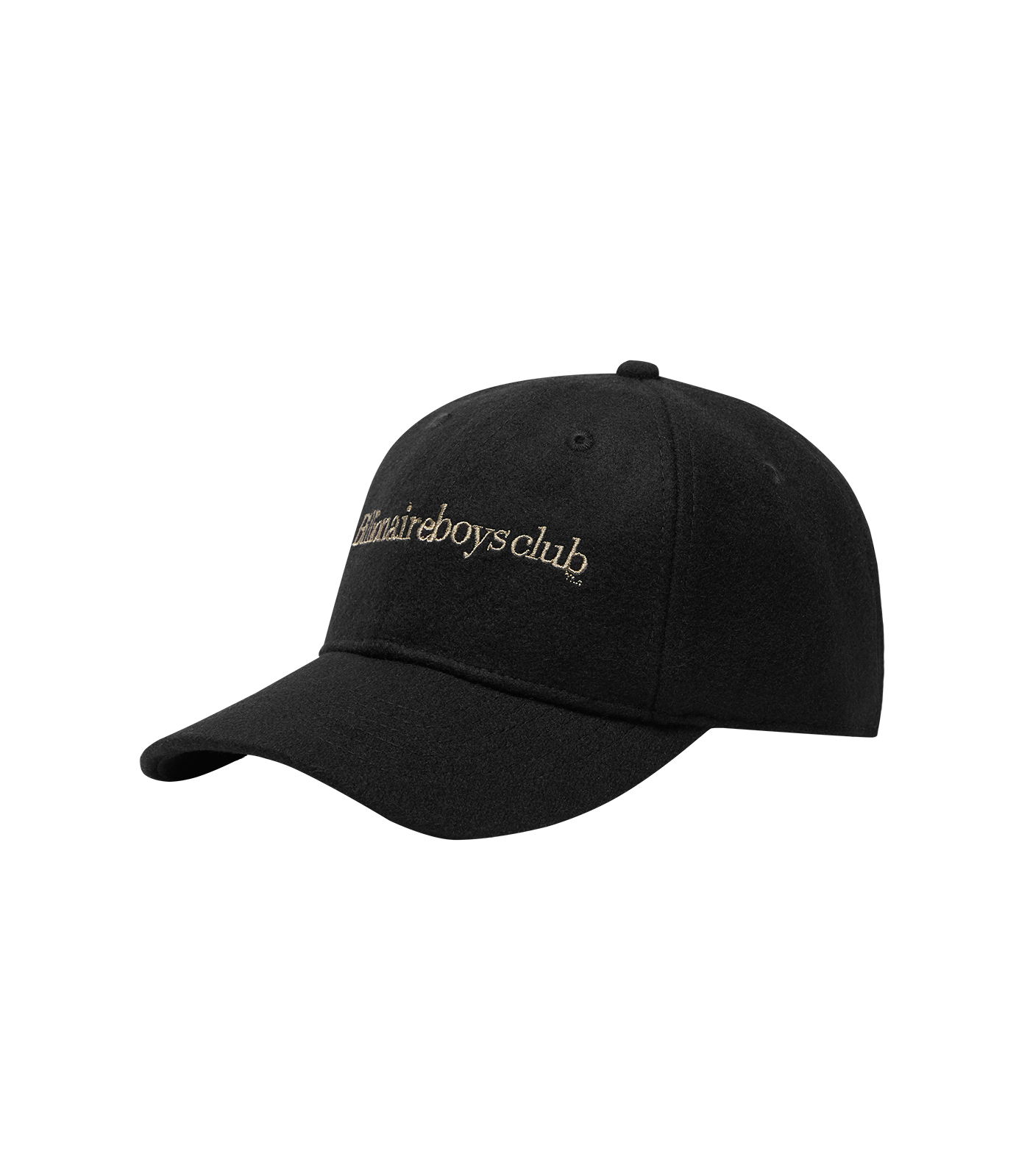 EMBROIDERED WOOL CURVED VISOR CAP - BLACK