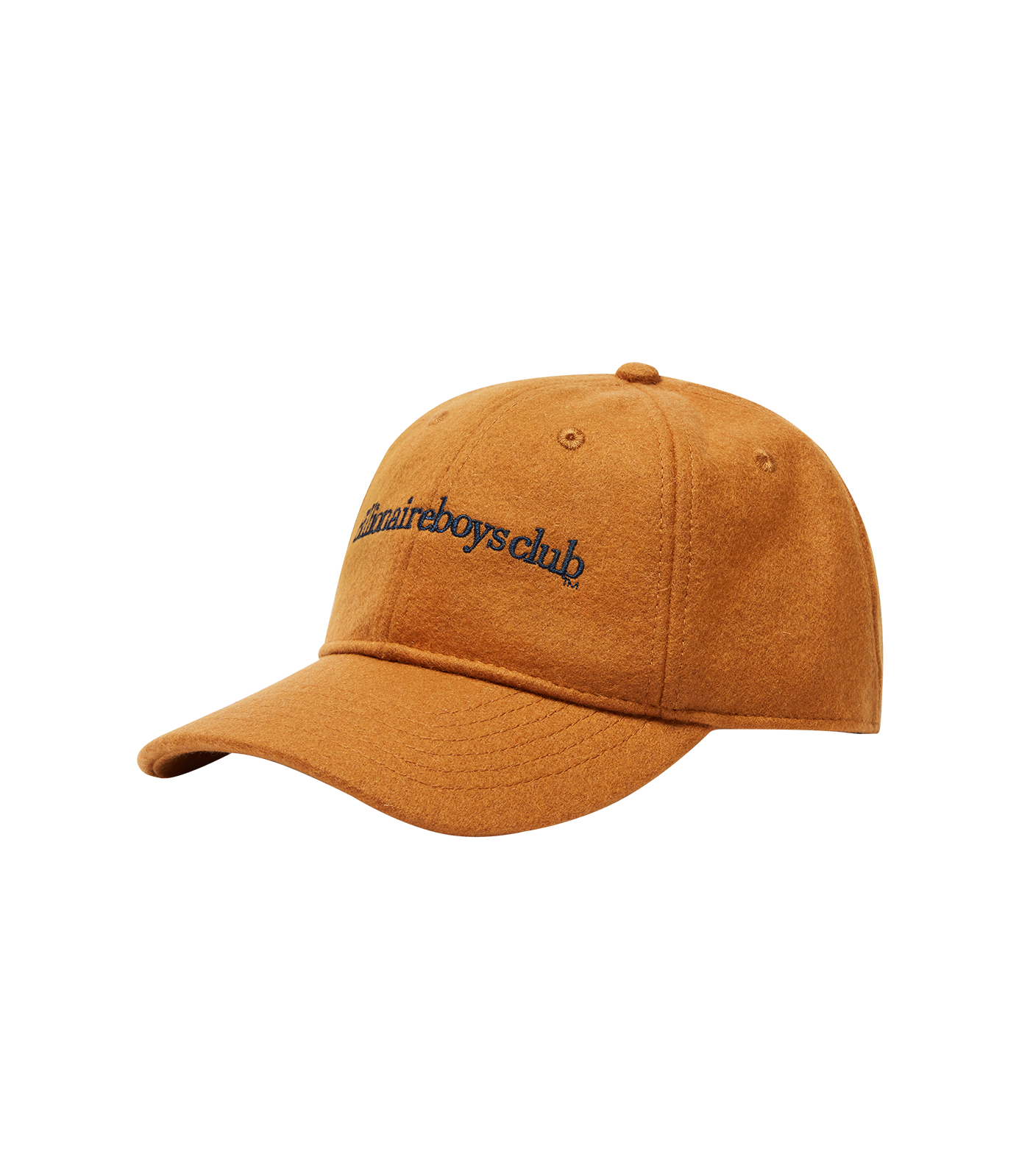 EMBROIDERED WOOL CURVED VISOR CAP - ORANGE