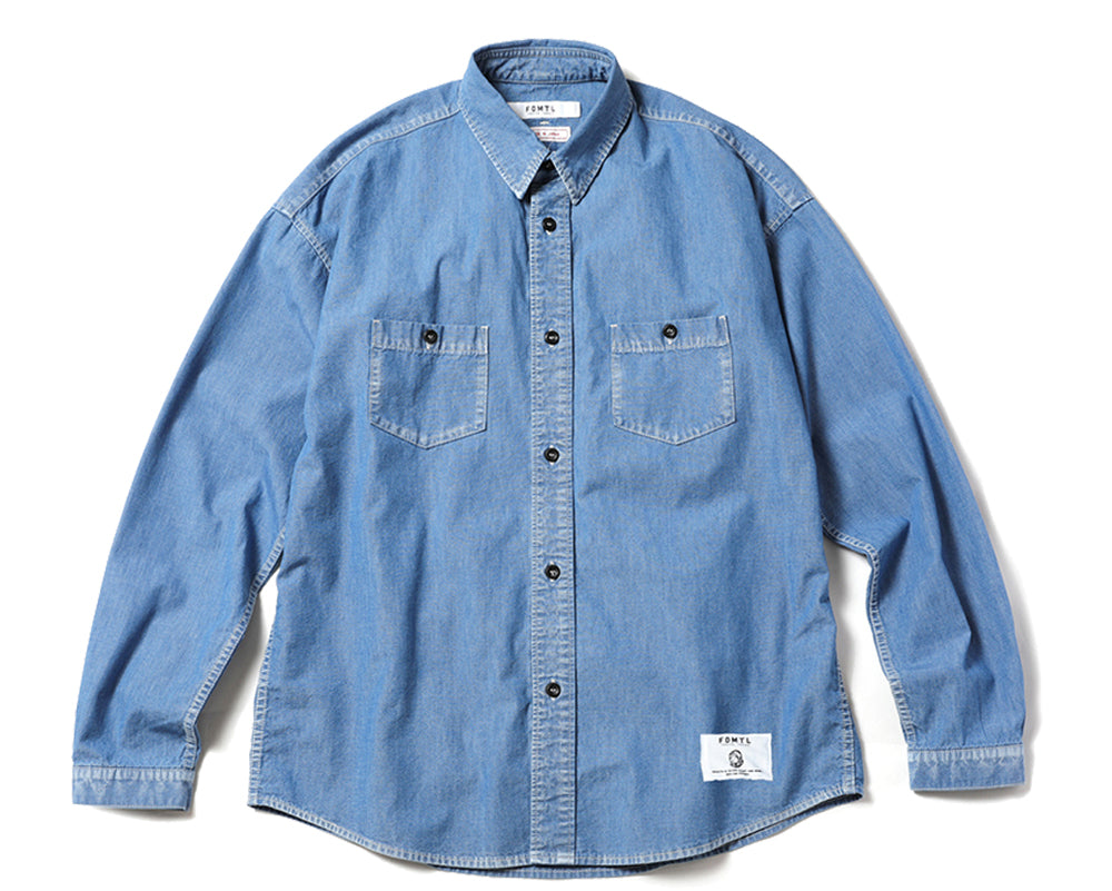 WASHED DENIM BANDANA SHIRT - BLUE