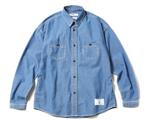 BBC X FDMTL WASHED DENIM BANDANA SHIRT - BLUE