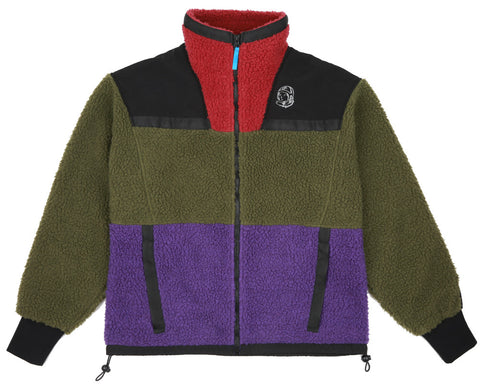 Billionaire Boys Club Fall '17 PANELLED SHERPA FLEECE ZIP-THROUGH - GREEN/PURPLE/RED