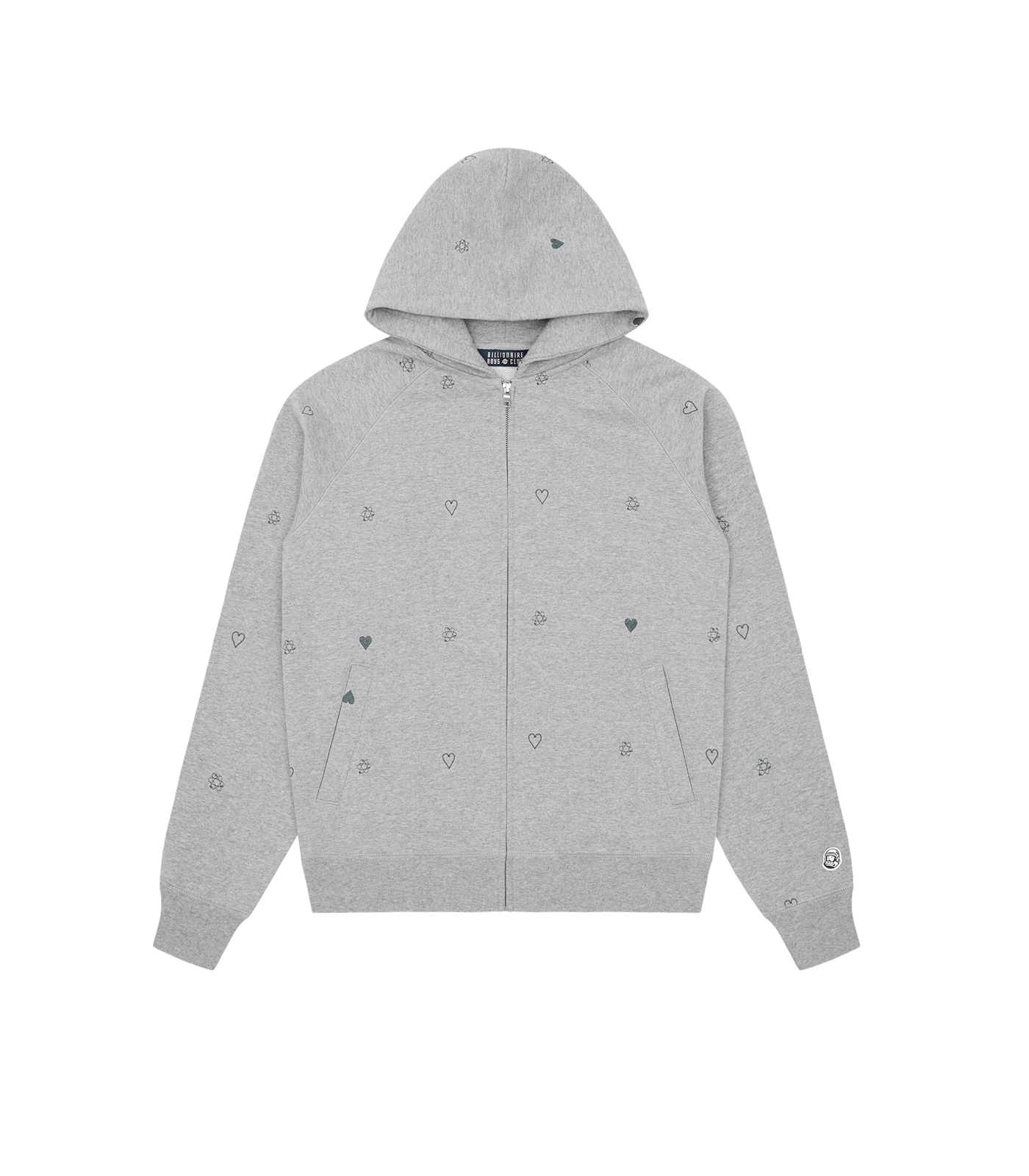 HEART & MIND MONOGRAM EMBROIDERED ZIP THROUGH HOOD - GREY