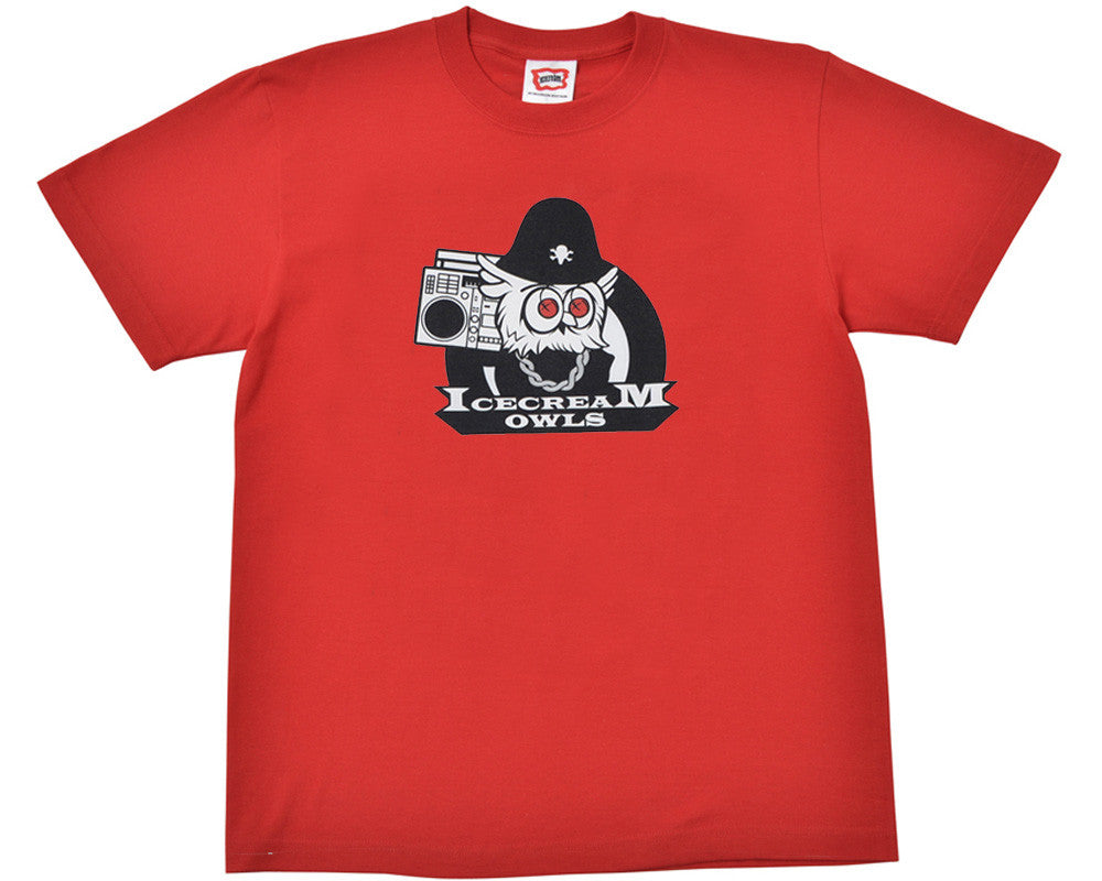 ICECREAM OWL MASCOT T-SHIRT - RED