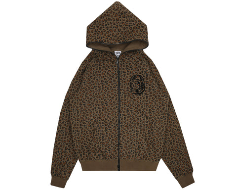Billionaire Boys Club Pre-Fall '18 LEOPARD PRINT FULL ZIP HOOD - BROWN