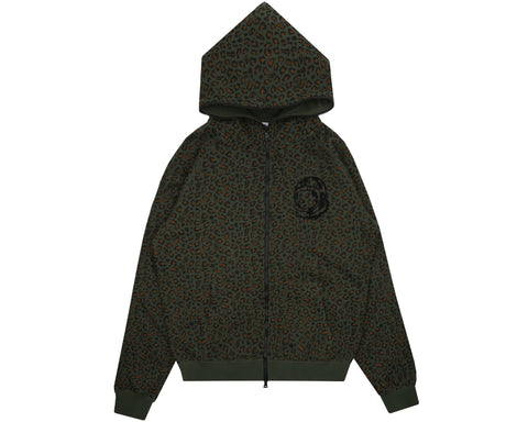 Billionaire Boys Club Pre-Fall '18 LEOPARD PRINT FULL ZIP HOOD - GREEN