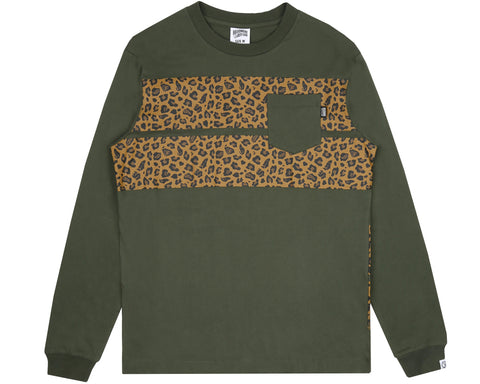 Billionaire Boys Club Pre-Fall '18 LEOPARD STRIPE L/S T-SHIRT - OLIVE