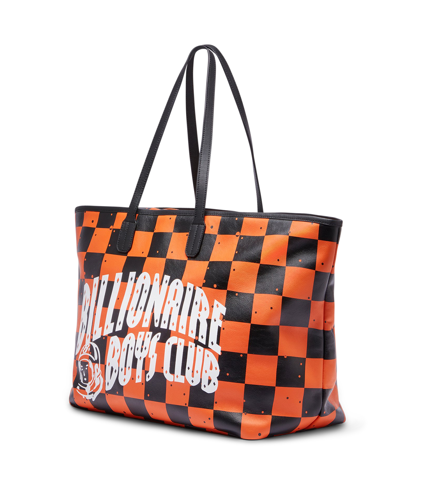 SPACE CHECK LEATHER TOTE BAG - ORANGE