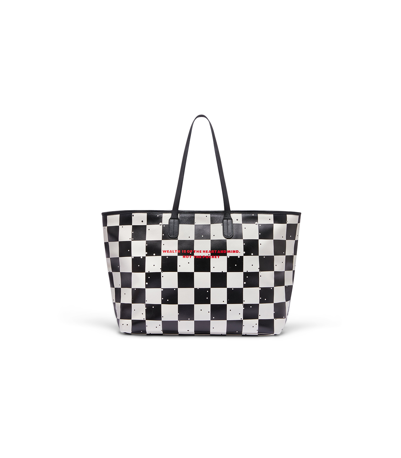 SPACE CHECK LEATHER TOTE BAG - WHITE