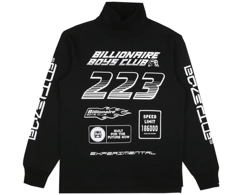 Billionaire Boys Club Pre-Spring '19 MULTI LOGO L/S TURTLE NECK T-SHIRT - BLACK