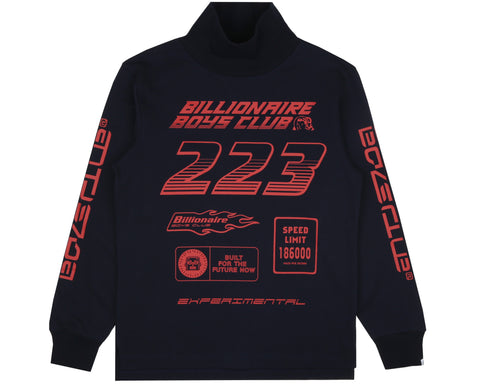 Billionaire Boys Club Pre-Spring '19 MULTI LOGO L/S TURTLE NECK T-SHIRT - NAVY