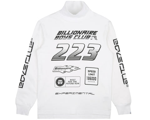 Billionaire Boys Club Pre-Spring '19 MULTI LOGO L/S TURTLE NECK T-SHIRT - WHITE