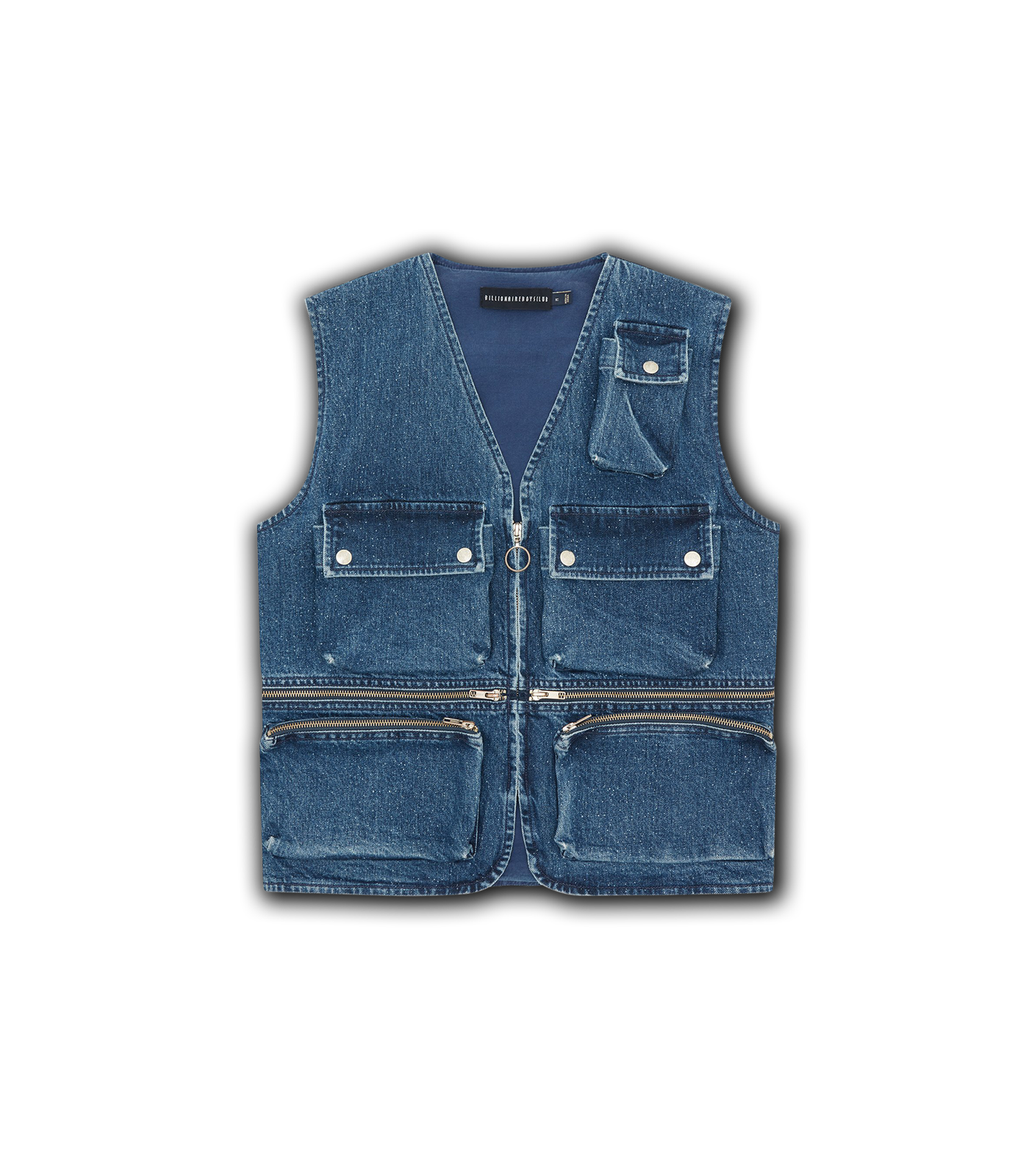 MULTI POCKET DENIM VEST - BLUE