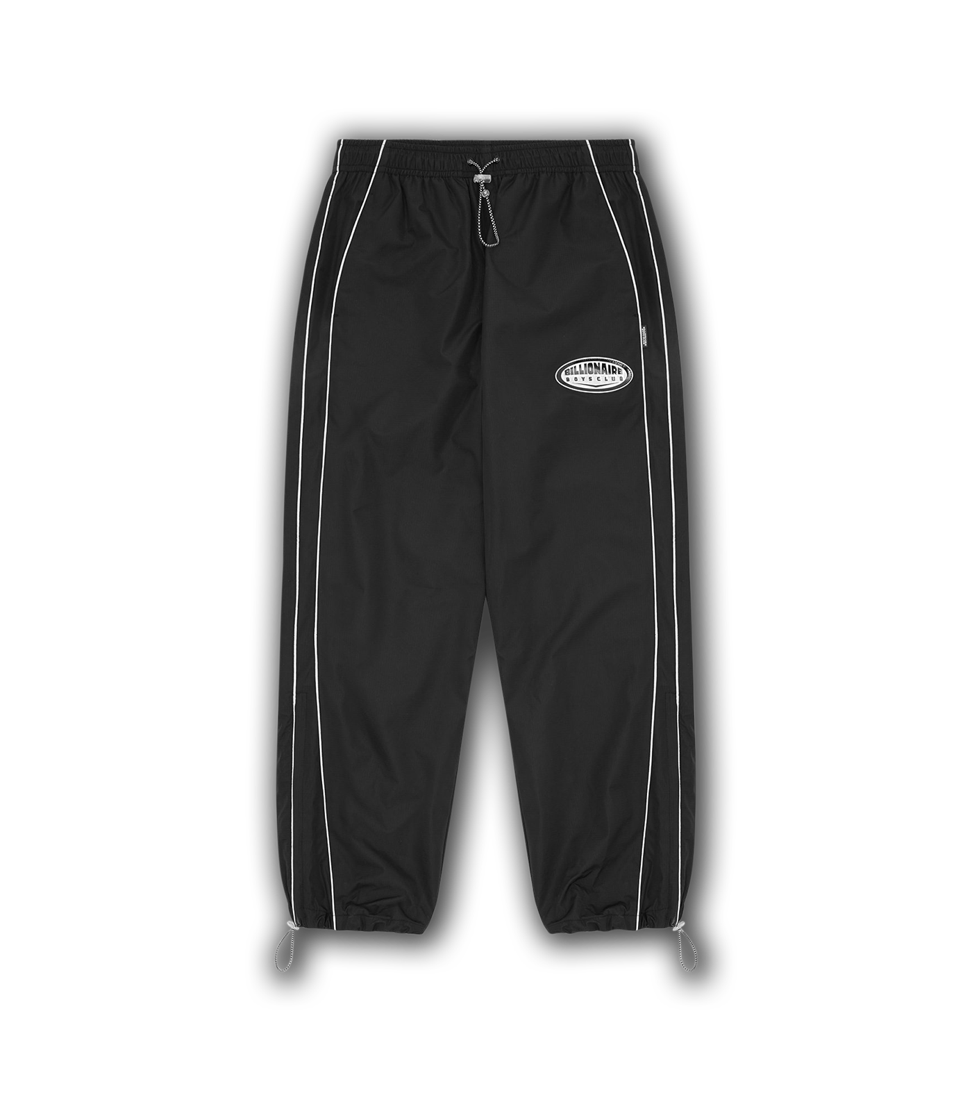 REFLECTIVE TRIM NYLON TRACK PANT - BLACK