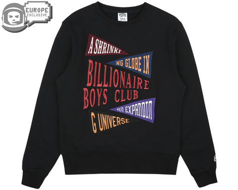 Billionaire Boys Club Fall '18 PENNANT APPLIQUE CREWNECK - BLACK