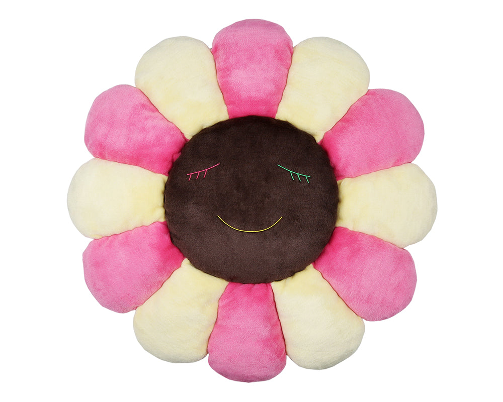 MURAKAMI FLOWER CUSHION 1M - PINK IVORY & BROWN