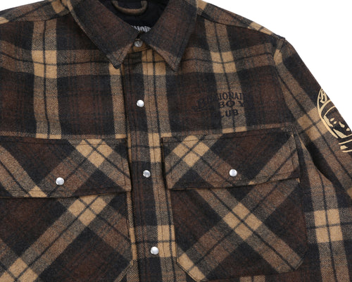 QUILTED CHECK SHIRT - BROWN
