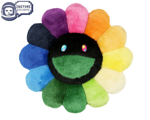 MURAKAMI FLOWER CUSHION 30CM - RAINBOW & BLACK