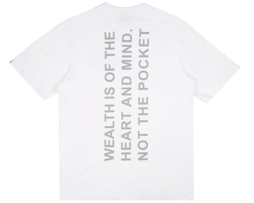 REFLECTIVE MANTRA PRINT T-SHIRT - WHITE