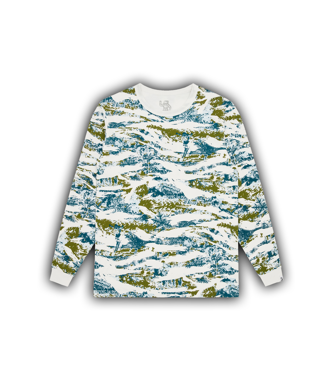 REVERSIBLE CAMO L/S T-SHIRT - WHITE/TEAL