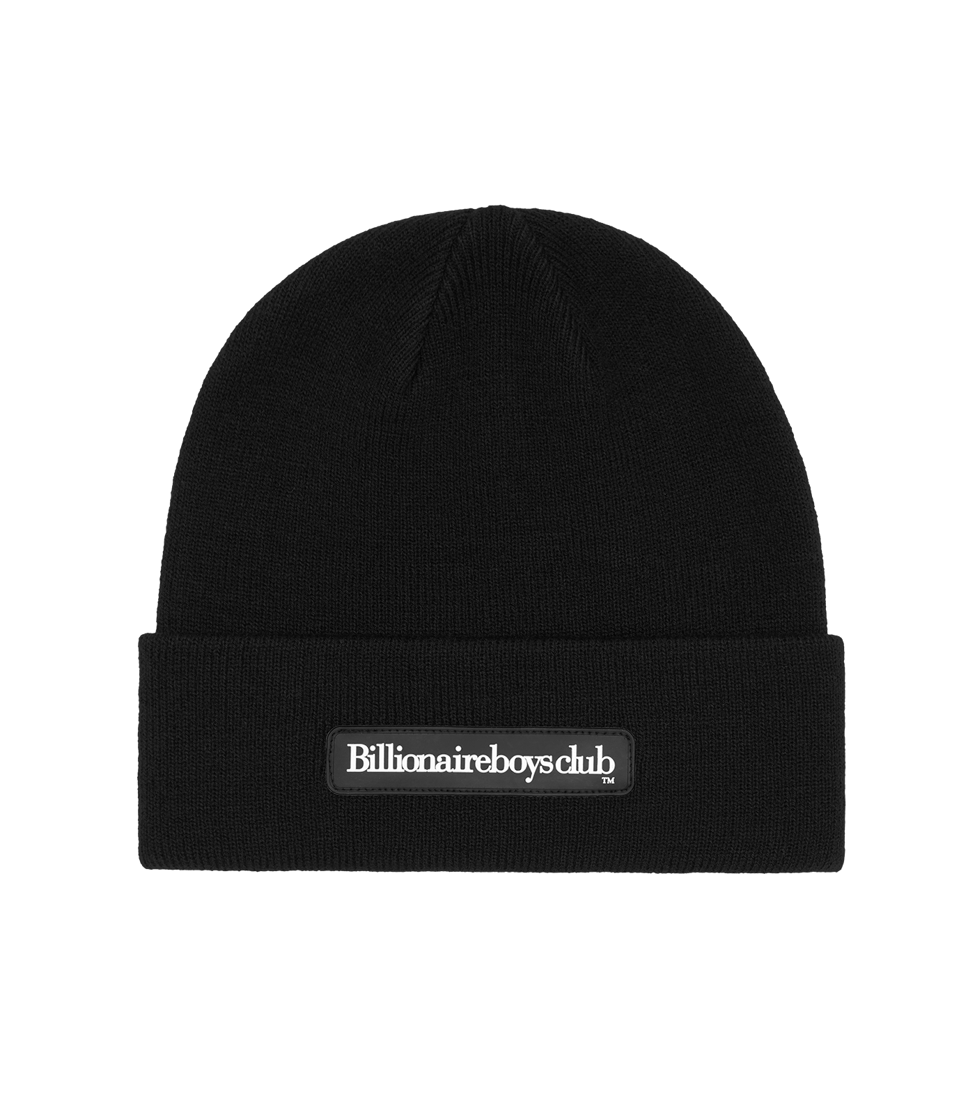RUBBER PATCH RIBBED BEANIE - BLACK