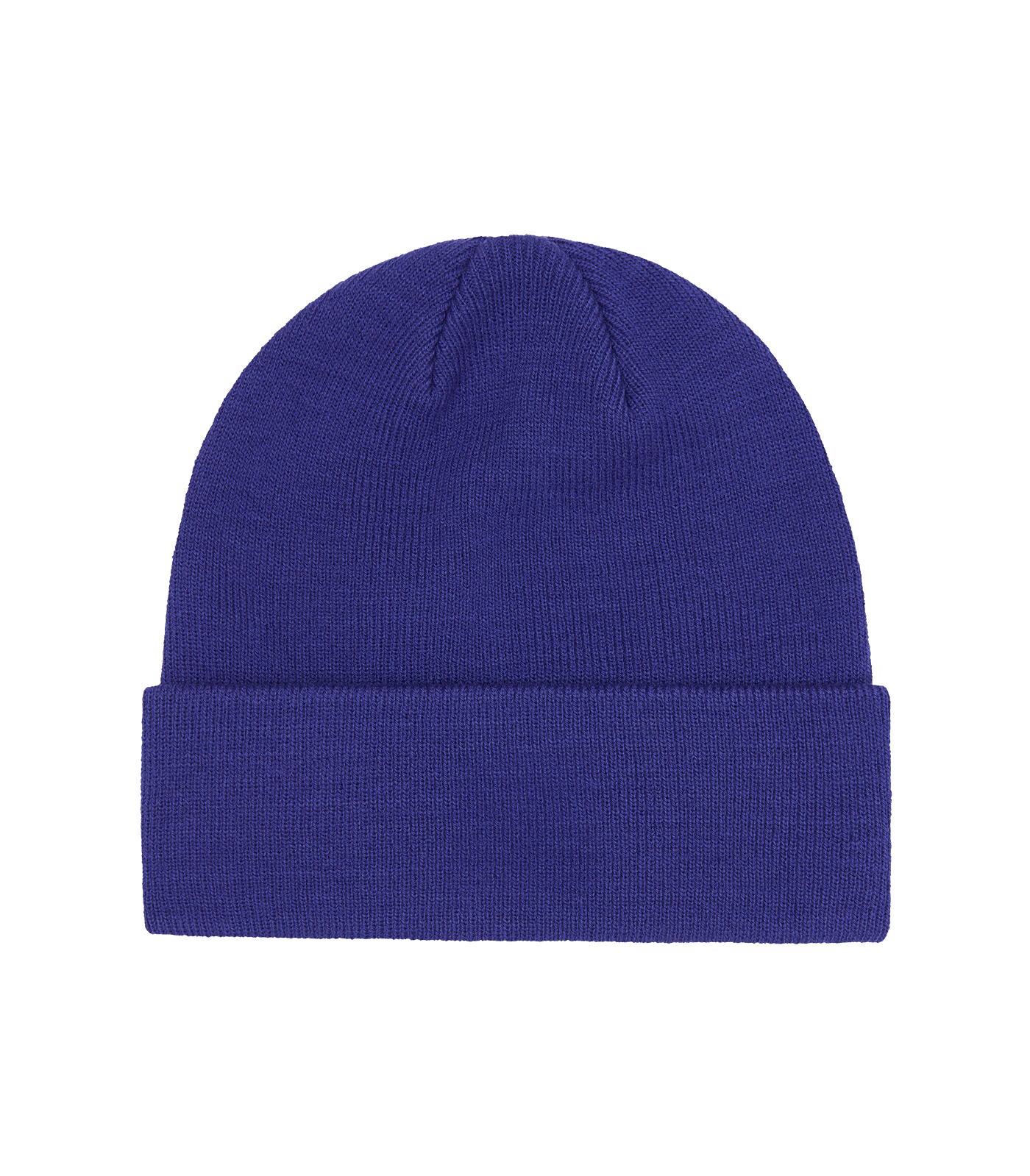 RUBBER PATCH RIBBED BEANIE - BLUE