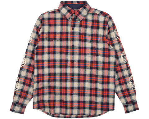 Billionaire Boys Club Pre-Fall '19 HELMET PRINT CHECK SHIRT - LIGHT RED
