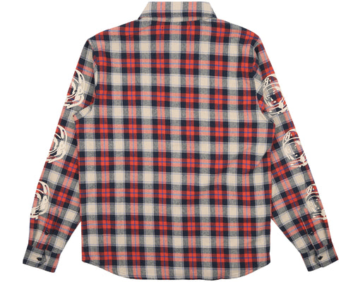 HELMET PRINT CHECK SHIRT - LIGHT RED
