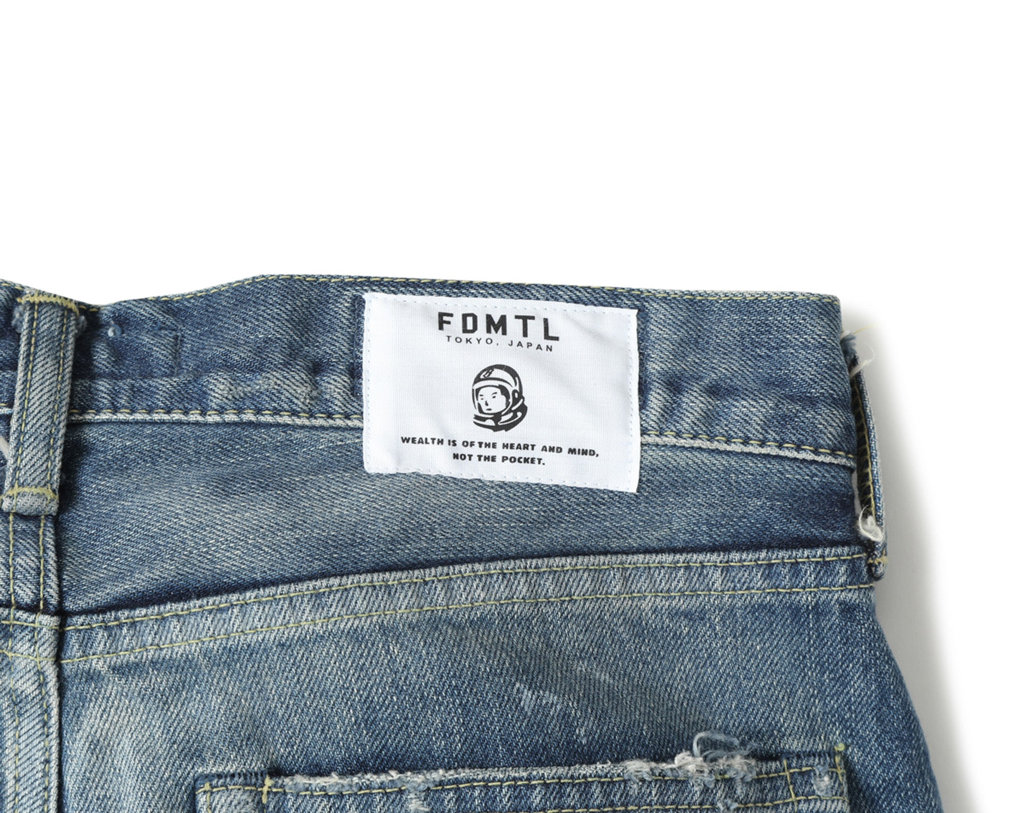 SLIM FIT HARD DAMAGED DENIM - INDIGO