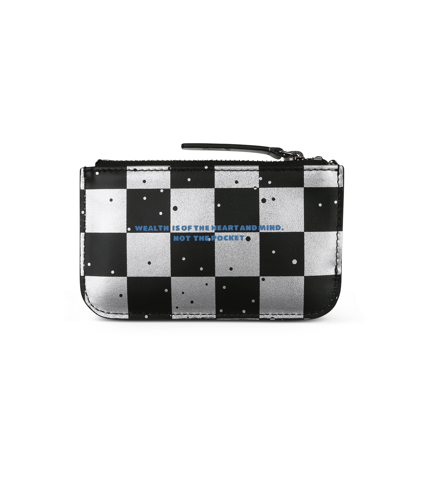 SPACE CHECK LEATHER ZIP KEY POUCH - SILVER