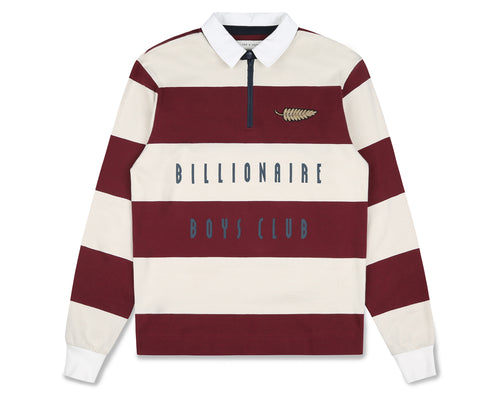 STRIPED ZIP RUGBY SHIRT - BURGUNDY/WHITE