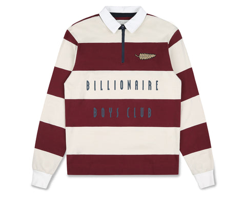 Billionaire Boys Club Fall '19 STRIPED ZIP RUGBY SHIRT - BURGUNDY/WHITE