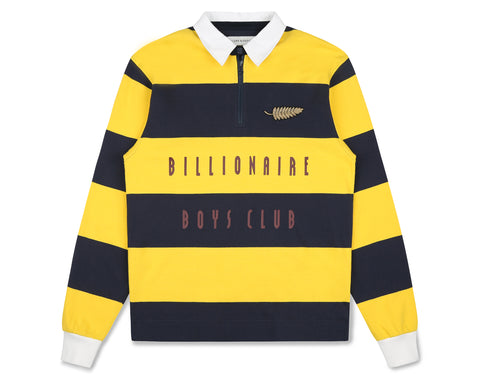 Billionaire Boys Club Fall '19 STRIPED ZIP RUGBY SHIRT - NAVY/YELLOW